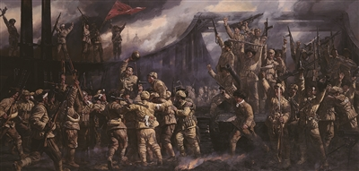 油画作品再现平津战役胜利场景 见证战争艰辛与悲壮